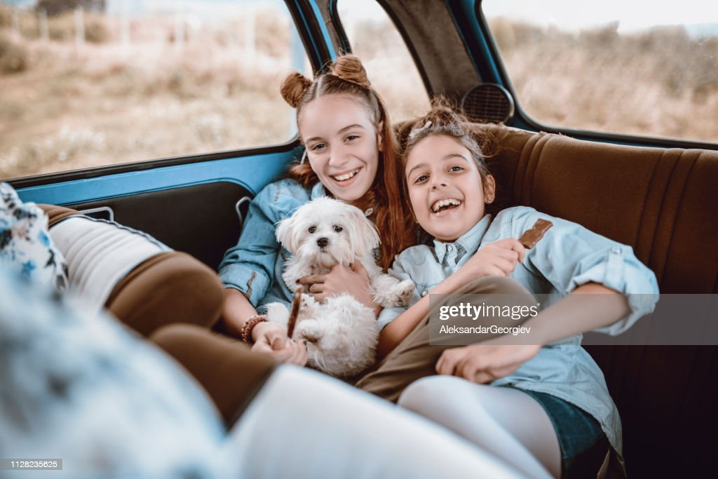 Cute Sisters Posing With Their Doggy In a Vintage Car : Stock Photo