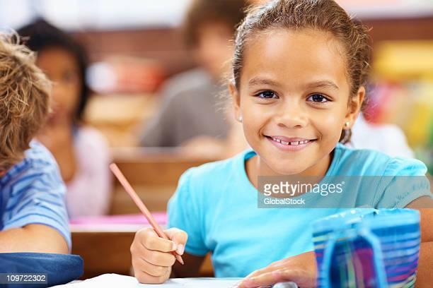 Cute small girl at elementary school