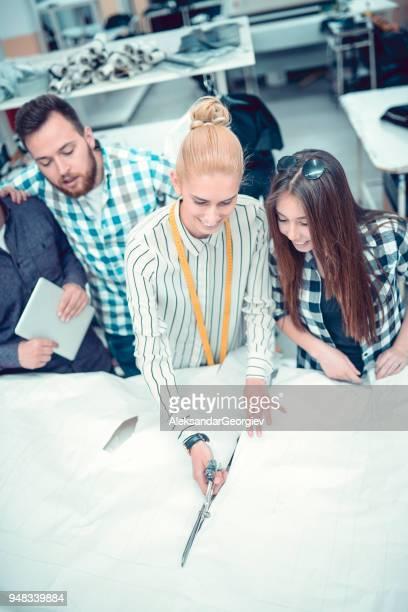 Mignon souriant tailleur est de faire de nouveaux échantillons de chemise avec des collègues de sa