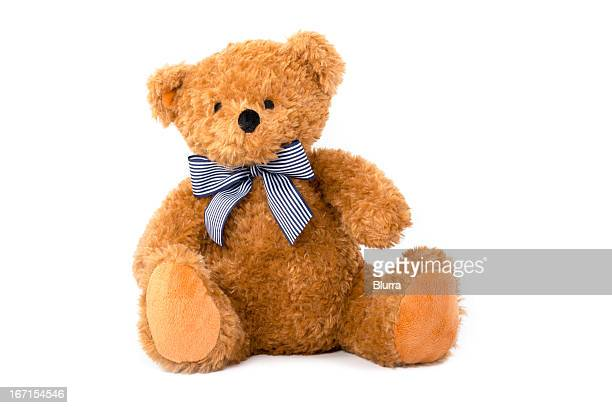 cute teddy bear isolated on white background - stuffed toy stock pictures, royalty-free photos & images