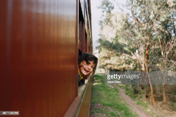 Cute toddler girl enjoying train ride through countryside