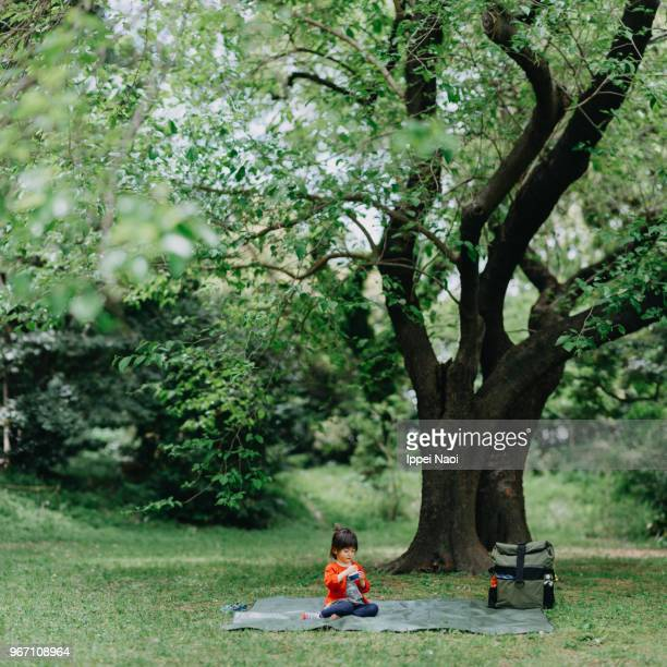 Cute toddler girl having a picnic in park