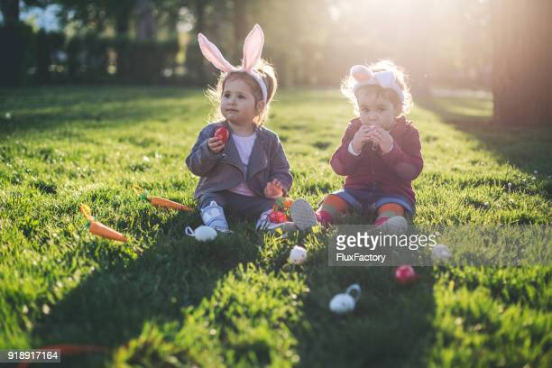Cute toddlers celebrating Easter