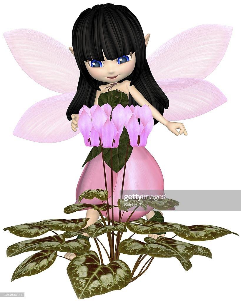 Cute Toon Pink Cyclamen Fairy, Standing : Stock Photo