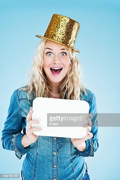 cute woman with empty sign - blank sign stock photos and pictures