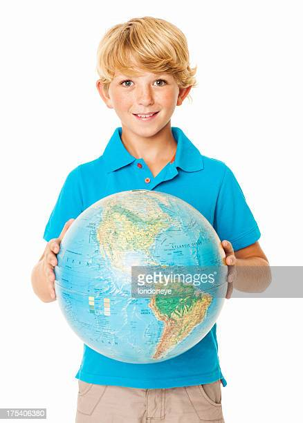 Cute Young Boy Holding a Globe - Isolated