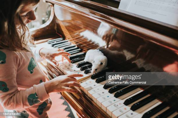 a cute young girl plays the piano with one finger while her pet hamster sits on the piano keys and watches her. - humor stock pictures, royalty-free photos & images