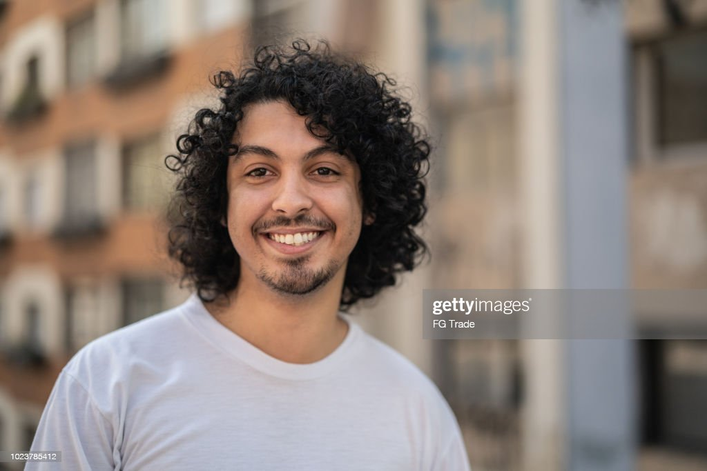 Cute Young Men with curly hair Portrait : Stock Photo