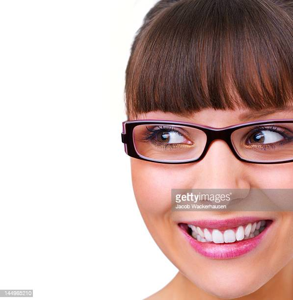Cute young woman looking sideways