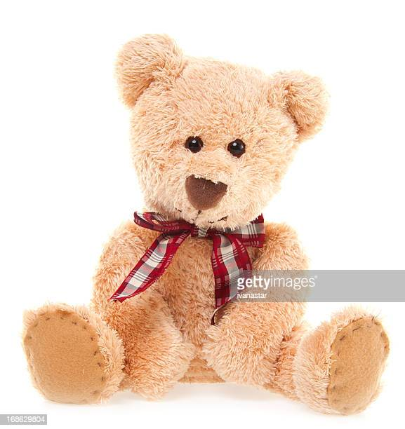 cuteteddy bear toy sitting, isolated on white - stuffed toy stock pictures, royalty-free photos & images