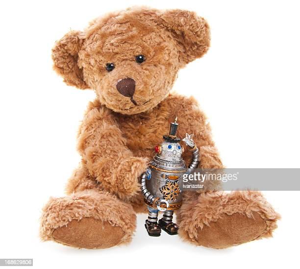 CuteTeddy avec ours Jouet Robot, assis, isolé sur blanc