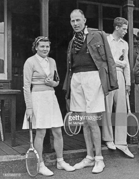 """Cuthbert Collingwood """"Ted"""" Tinling , Fashion designer and Lieutenant-Colonel in the British Army Intelligence Corps with tennis doubles partner Joan..."""