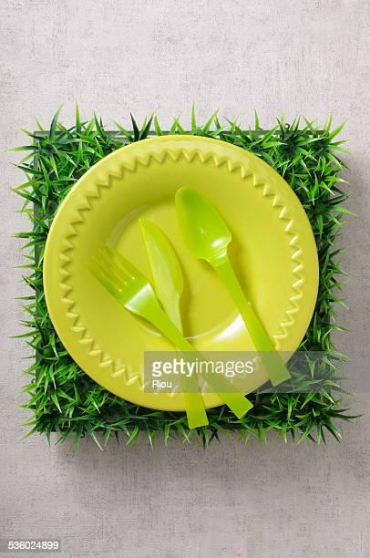 cutlery - plastic plate - fotografias e filmes do acervo