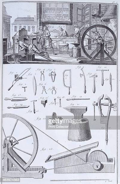 Cutlerymaking c1750s Plate taken from volume II of Encyclopedie ou Dictionnaire Raisonne de Science des Arts et des Metiers edited by Denis Diderot...