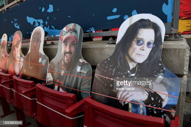 Cutout image of Ozzy Osbourne is placed in the stands at the Super Bowl LV at Raymond James Stadium on February 07, 2021 in Tampa, Florida.