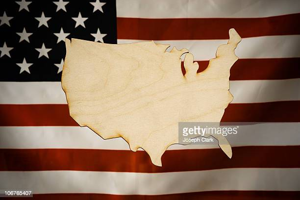 cut-out map of america made of wood - us map stock photos and pictures