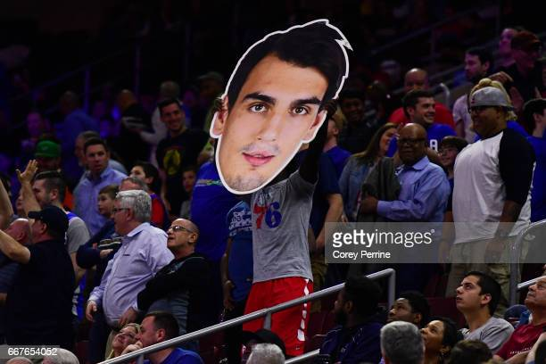 Cutout of Dario Saric of the Philadelphia 76ers is carried in the crowd for a fan participation game during the second quarter against the Indiana...