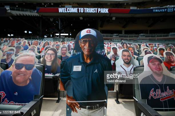 Cutout of longtime Atlanta Braves usher Walter Banks is displayed along with other fans cutouts prior to an MLB game against the Tampa Bay Rays at...
