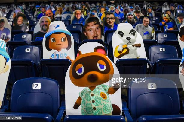 Cutout photos of characters from the game Animal Crossing are on display before the game between the Detroit Lions and the Tampa Bay Buccaneers at...