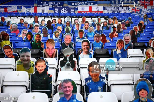Cutouts of Birmingham City fans and a pet dog placed in the stand during the Sky Bet Championship match between Birmingham City and AFC Bournemouth...