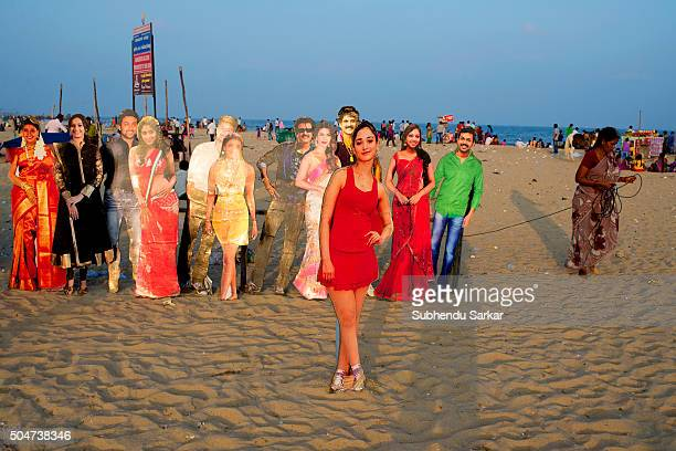 Cutouts of film actors are lined up on Marina Beach in Chennai Life in Chennai gets back to normalcy after the devastating floods in December 2015...