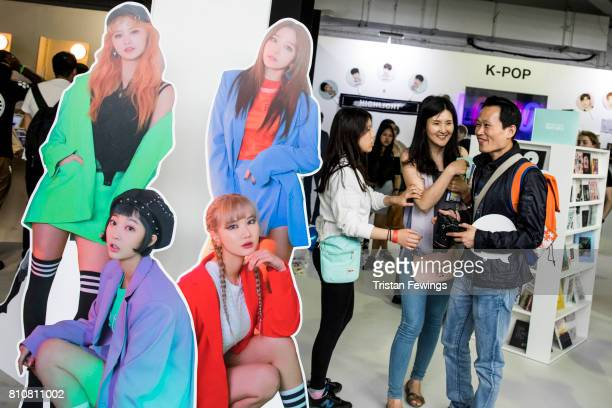 Cutouts of KPop band EXID are displayed at the London Korean Festival 2017 at Olympia London on July 8 2017 in London England