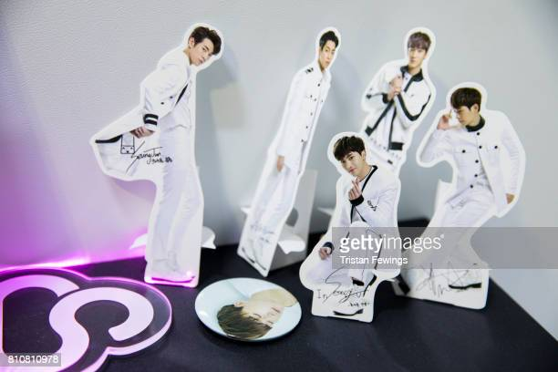 Cutouts of KPop band Highlight are displayed at the London Korean Festival 2017 at Olympia London on July 8 2017 in London England