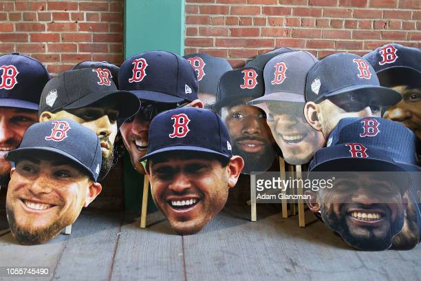 Cutouts of the players heads sit on a wall inside of Fenway Park before the Boston Red Sox 2018 World Series parade on October 31 2018 in Boston...
