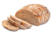 cutted rye round bread isolated on white