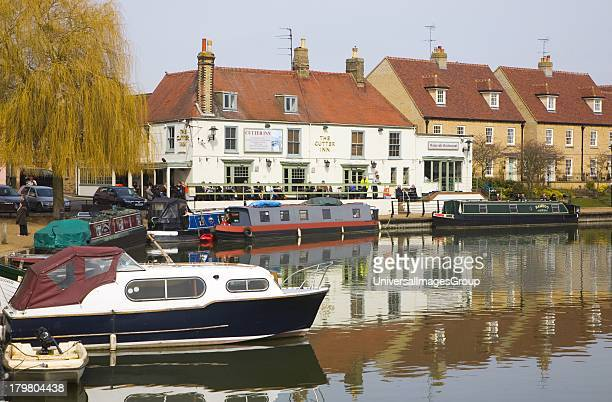 Cutter Inn Cutter Inn pub on the River Ouse waterfront at Ely Cambridgeshire England