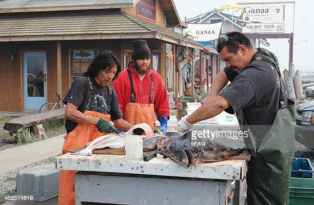 Cutting and cleaning the halibut, Homer,Alaska