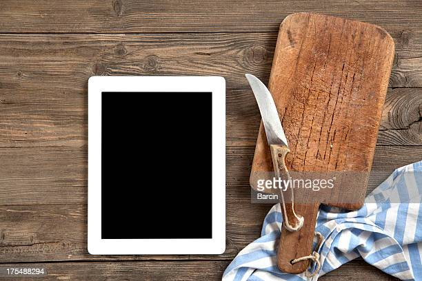 Cutting board with digital tablet