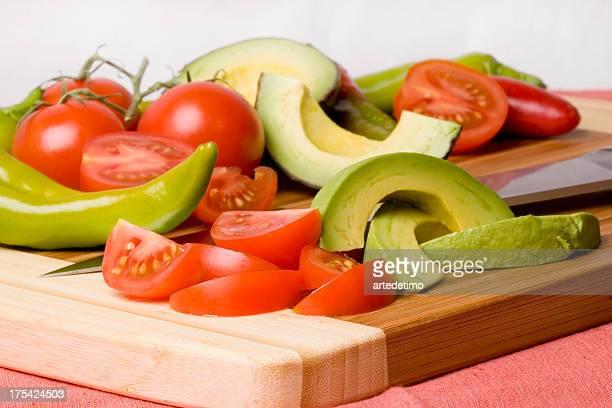 Cutting Board with salsa veggies