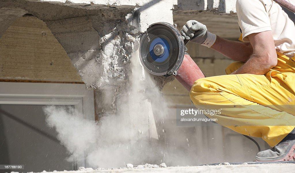 Cutting Concrete : Stock Photo