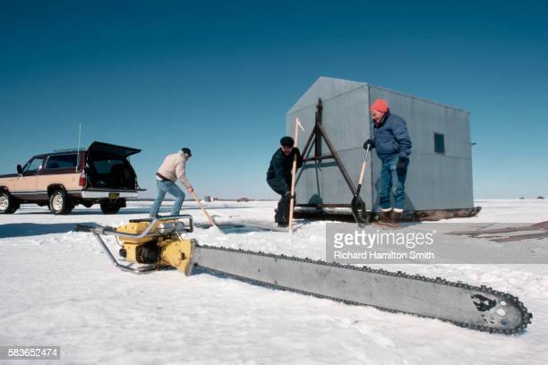 Cutting Hole in Ice for Fishing