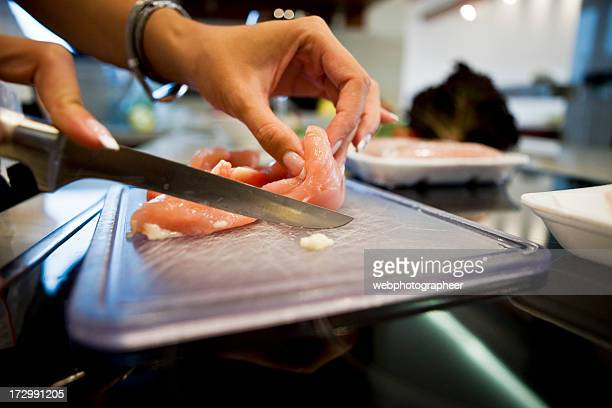 cutting meat - raw chicken stock photos and pictures