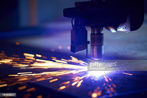 cutting metal with plasma laser - cutting stock pictures, royalty-free photos & images
