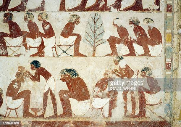 Cutting of the soldiers hair fresco south wall west transverse chamber Tomb of Userhat tutor and scribe during the reign of Amenhotep II also known...