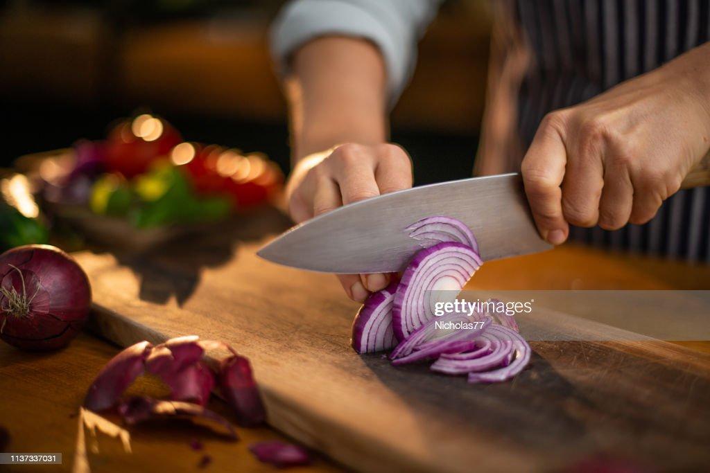 Cutting onions : Stock Photo
