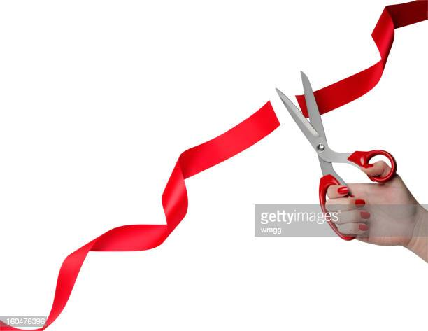 cutting red ribbon opening ceremony - opening event stock pictures, royalty-free photos & images