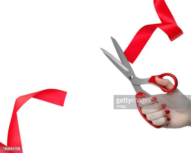 cutting red ribbon opening ceremony - ribbon cutting stock pictures, royalty-free photos & images