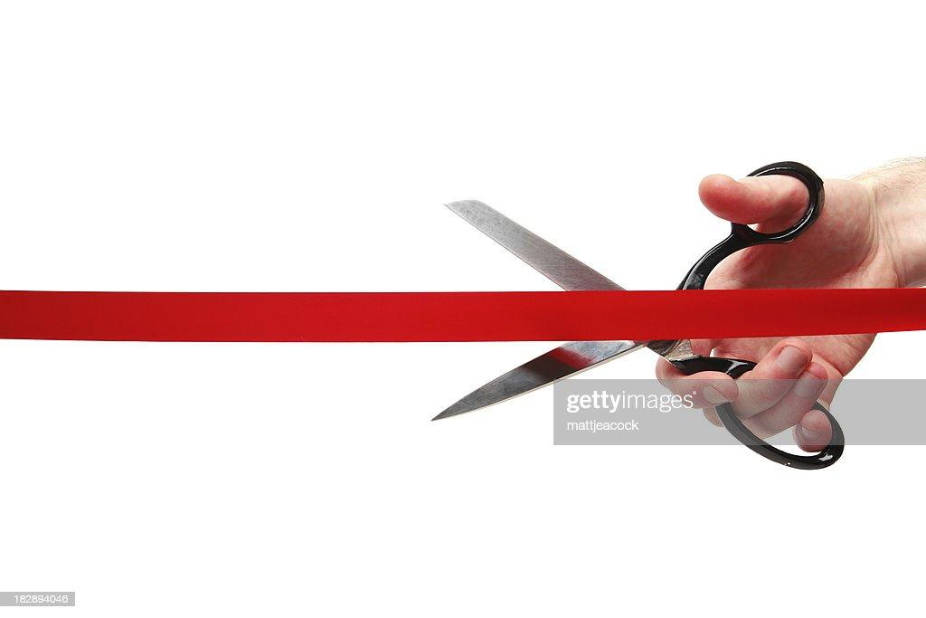 Cutting red ribbon : Stock Photo