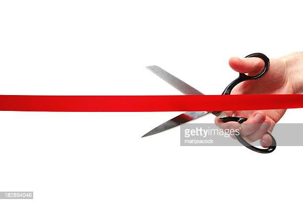 cutting red ribbon - opening event stock photos and pictures