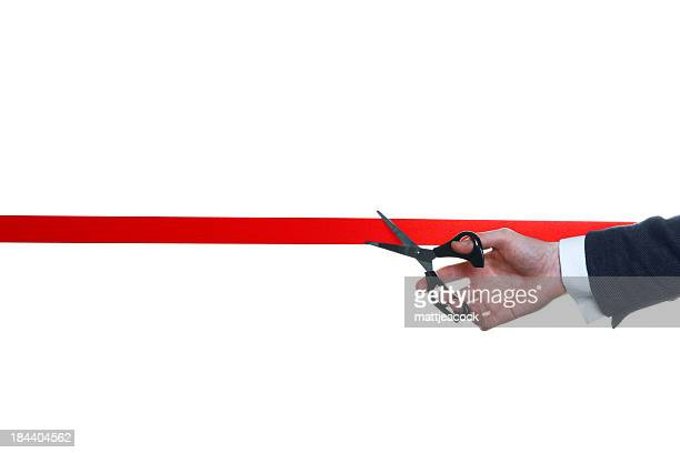 cutting red ribbon - opening event stock pictures, royalty-free photos & images