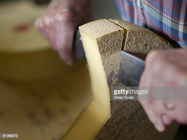 Cutting Swiss mountain cheese