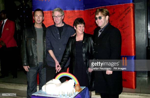 Cutting the cake for Stonewall's 10th birthday Julian Clary Paul O'Grady Angela Mason and Elton John at the Stonewall Equality Show at the Royal...