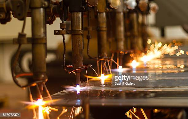 CNC LPG cutting with sparks