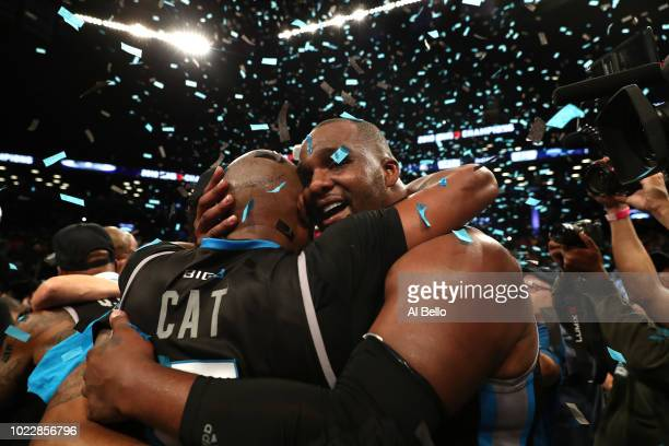 Cuttino Mobley and Glen Davis of Power celebrate after defeating 3's Company during the BIG3 Championship at the Barclays Center on August 24 2018 in...