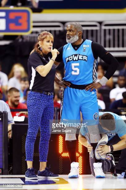 Cuttino Mobley and Nancy Lieberman Head Coach of Power talk on the sidelines during the BIG 3 gamegame against Triplets at Sprint Center on July 20...