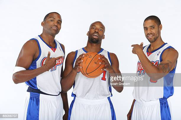 Cuttino Mobley Baron Davis and Jason Hart of the Los Angeles Clippers pose for a portrait during NBA Media Day on September 29 2008 at the Clippers...